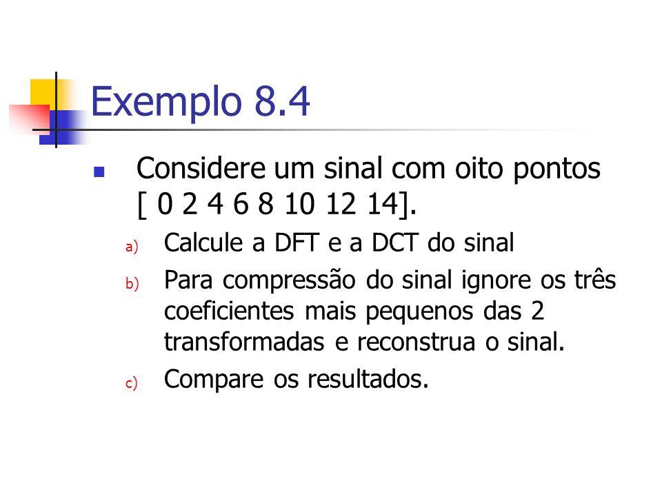 Exemplo 8.4 Considere um sinal com oito pontos [ 0 2 4 6 8 10 12 14].